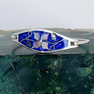 Mexican Bracelet Abalone Blue Enamel Alpaca C08